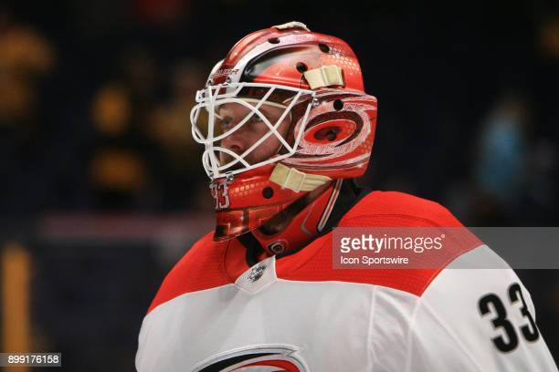 The artwork on the mask of Carolina Hurricanes goalie Scott Darling is shown prior to the NHL game between the Nashville Predators and the Carolina...