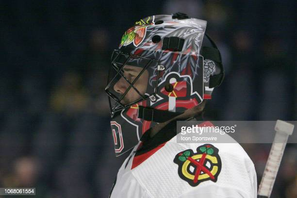 The artwork on the mask of Chicago Blackhawks goalie Corey Crawford is shown prior to the NHL game between the Nashville Predators and Chicago...