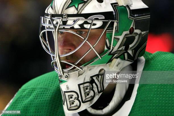 The artwork on the mask of Dallas Stars goalie Anton Khudobin is shown during the NHL game between the Nashville Predators and Dallas Stars held on...