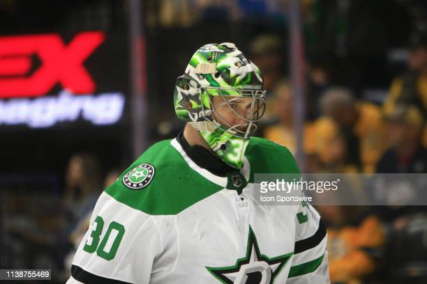 The artwork on the mask of Dallas Stars goalie Ben Bishop is shown during Game Five of Round One of the Stanley Cup Playoffs between the Nashville...