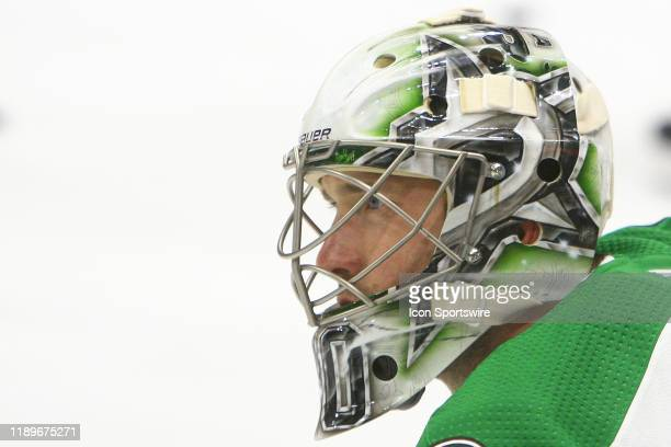The artwork on the mask of Dallas Stars goalie Ben Bishop is shown prior to the NHL game between the Nashville Predators and Dallas Stars, held on...