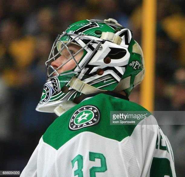 The artwork on the mask of Dallas Stars goalie Kari Lehtonen is shown during the NHL game between the Nashville Predators and the Dallas Stars held...