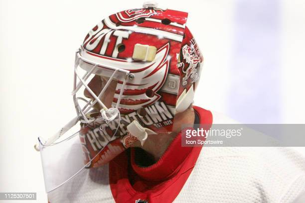 The artwork on the mask of Detroit Red Wings goalie Jimmy Howard is shown prior to the NHL game between the Nashville Predators and Detroit Red Wings...