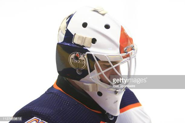 The artwork on the mask of Edmonton Oilers goalie Anthony Stolarz is shown prior to the NHL game between the Nashville Predators and Edmonton Oilers...