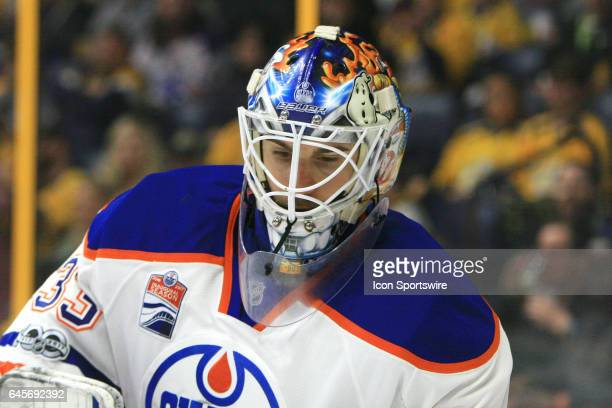 The artwork on the mask of Edmonton Oilers goalie Cam Talbot is shown during the NHL game between the Nashville Predators and the Edmonton Oilers...
