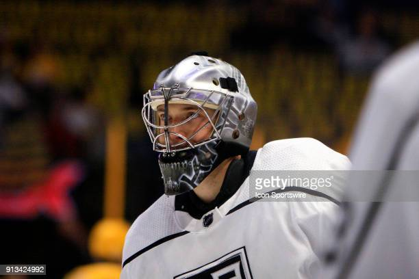 The artwork on the mask of Los Angeles Kings goalie Darcy Kuemper is shown prior to the NHL game between the Nashville Predators and the Los Angeles...