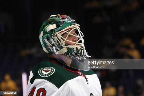 The artwork on the mask of Minnesota Wild goalie Devan Dubnyk is shown prior to the NHL game between the Nashville Predators and the Minnesota Wild...