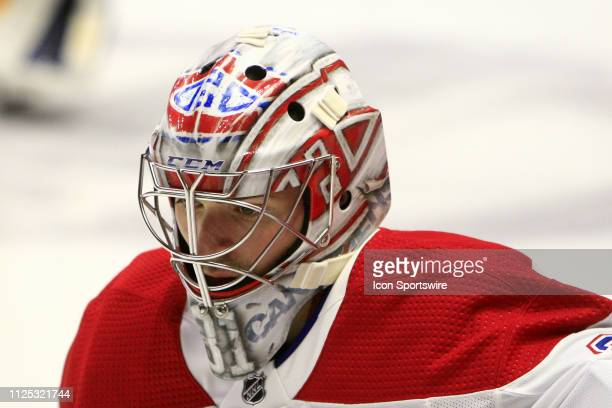 The artwork on the mask of Montreal Canadiens goalie Carey Price is shown prior to the NHL game between the Nashville Predators and Montreal...