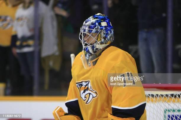 The artwork on the mask of Nashville Predators goalie Juuse Saros is shown during the NHL game between the Nashville Predators and Carolina...