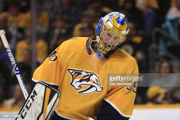 The artwork on the mask of Nashville Predators goalie Pekka Rinne is shown during the NHL game between the Nashville Predators and the Boston Bruins...
