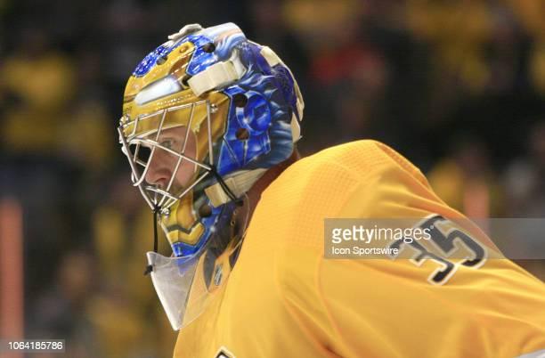 The artwork on the mask of Nashville Predators goalie Pekka Rinne is shown during the NHL game between the Nashville Predators and St Louis Blues...