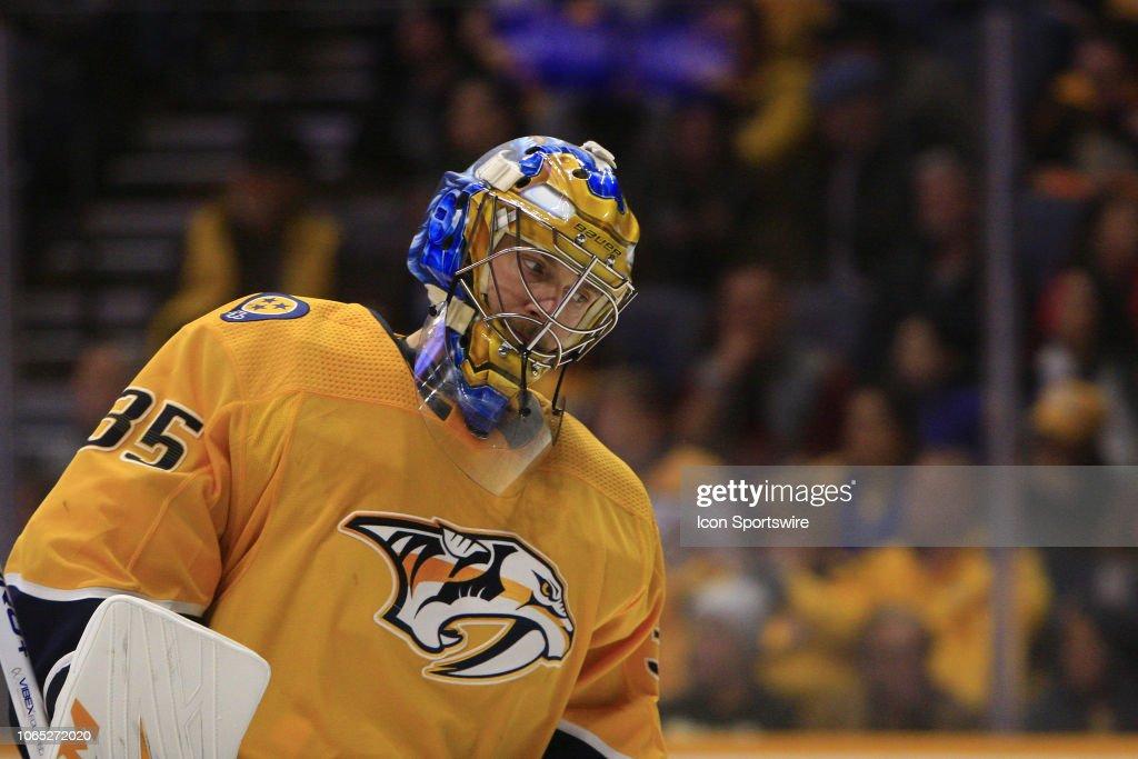 The Artwork On The Mask Of Nashville Predators Goalie Pekka Rinne Is
