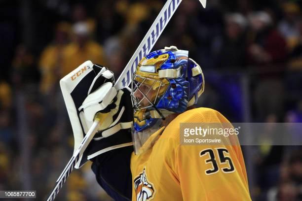 The artwork on the mask of Nashville Predators goalie Pekka Rinne is shown during the NHL game between the Nashville Predators and Anaheim Ducks held...