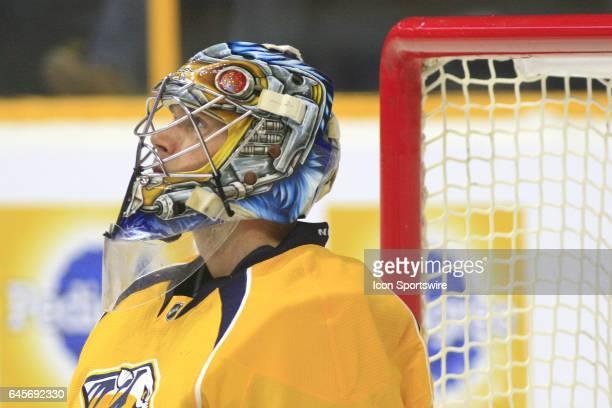 The artwork on the mask of Nashville Predators goalie Pekka Rinne is shown during the NHL game between the Nashville Predators and the Edmonton...