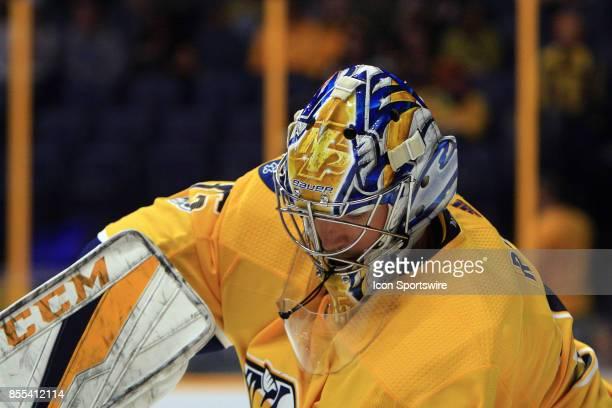 The artwork on the mask of Nashville Predators goalie Pekka Rinne is shown during the NHL preseason game between the Nashville Predators and the...