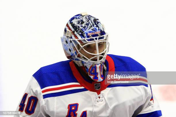 The artwork on the mask of New York Rangers goalie Alexandar Georgiev is shown prior to the NHL game between the Nashville Predators and New York...