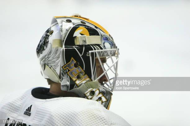 The artwork on the mask of Pittsburgh Penguins goalie Matt Murray is shown prior to the NHL game between the Nashville Predators and Pittsburgh...
