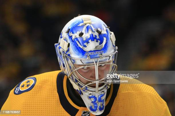 The artwork on the mask of Predators goalie Ken Appleby is shown during the second NHL preseason game between the Nashville Predators and Florida...