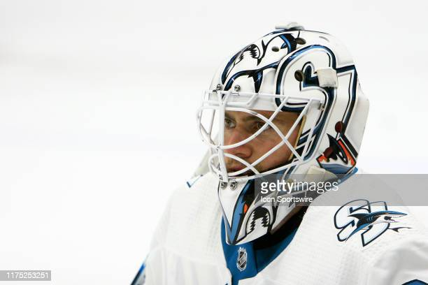 The artwork on the mask of San Jose Sharks goalie Martin Jones is shown prior to the NHL game between the Nashville Predators and San Jose Sharks...