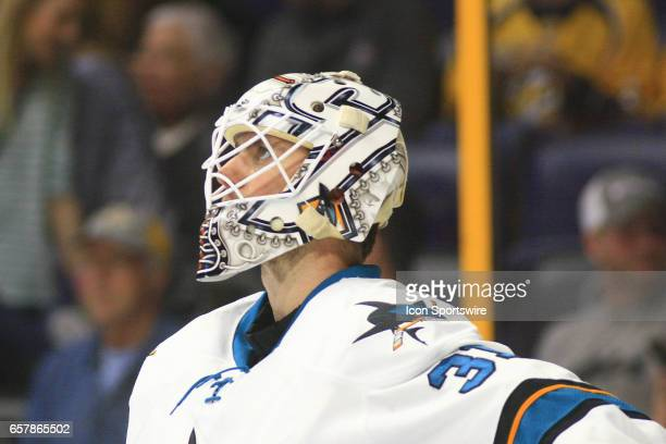 The artwork on the mask of San Jose Sharks goalie Martin Jones is shown during the NHL game between the Nashville Predators and the San Jose Sharks...