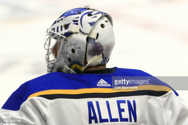 The artwork on the mask of St Louis Blues goalie Jake Allen is shown prior to the NHL game between the Nashville Predators and St Louis Blues held on...