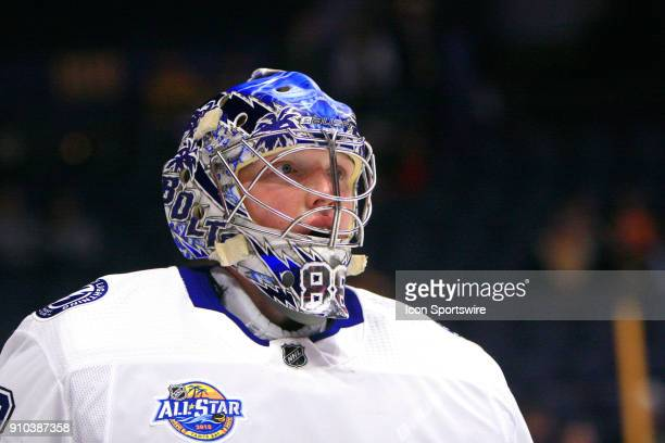 The artwork on the mask of Tampa Bay Lightning goalie Andrei Vasilevskiy is shown prior to the NHL game between the Nashville Predators and the Tampa...