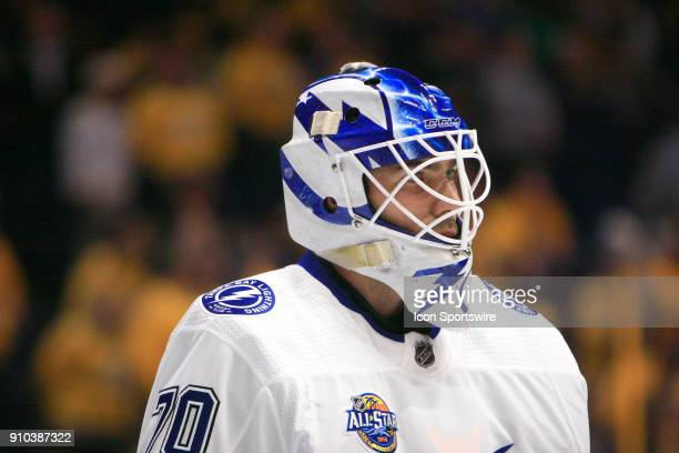The artwork on the mask of Tampa Bay Lightning goalie Louis Domingue is shown during the NHL game between the Nashville Predators and the Tampa Bay...