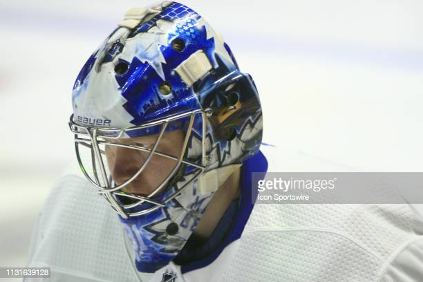 The artwork on the mask of Toronto Maple Leafs goalie Frederik Andersen is shown prior to the NHL game between the Nashville Predators and Toronto...