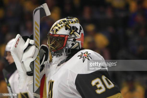 The artwork on the mask of Vegas Golden Knights goalie Malcolm Subban is shown during the NHL game between the Nashville Predators and the Vegas...