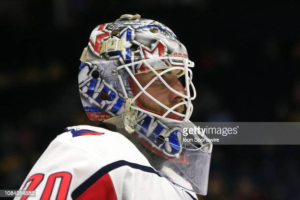 The artwork on the mask of Washington Capitals goalie Braden Holtby is shown prior to the NHL game between the Nashville Predators and Washington...