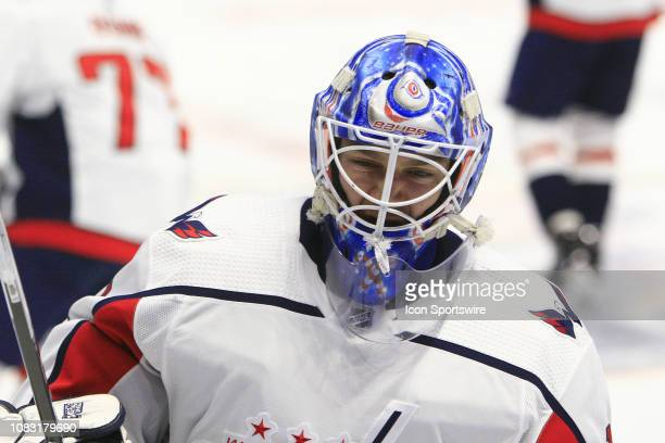 The artwork on the mask of Washington Capitals goalie Pheonix Copley is shown prior to the NHL game between the Nashville Predators and Washington...