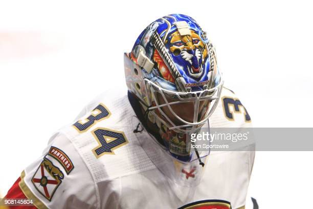 The artwork on the top of the mask of Florida Panthers goalie James Reimer is shown during the NHL game between the Nashville Predators and the...