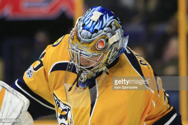 The artwork on the top of the mask of Nashville Predators goalie Pekka Rinne is shown during the NHL game between the Nashville Predators and the...
