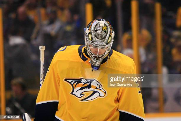 The artwork on the top of the mask of Nashville Predators goalie Pekka Rinne is shown during the NHL game between the Nashville Predators and...