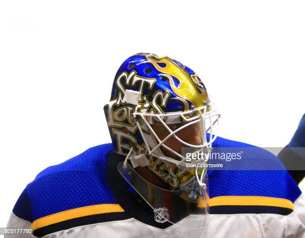 The artwork on the top of the mask of St Louis Blues goalie Carter Hutton is shown prior to the NHL game between the Nashville Predators and the St...
