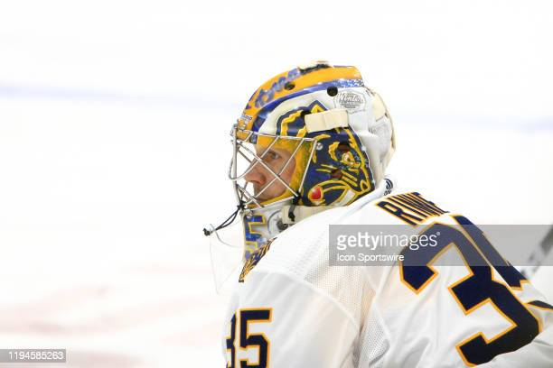 The artwork on the Winter Classic mask of Nashville Predators goalie Pekka Rinne of Finland is shown prior to the NHL game between the Nashville...