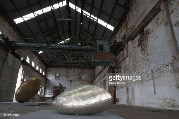 The artwork 'Super Moon 21' by artist Tawatchai Puntusawasdi is seen as part of the 31st Biennale of Sydney at Cockatoo Island on March 13 2018 in...