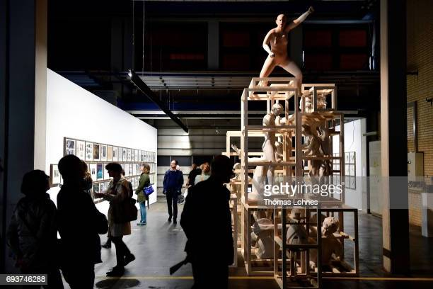 The artwork 'The Disasters of War/Trojan Horse' by artist Daniel Garcia Andujar pictured at 'Neue Neue Galerie' on June 8 2017 in Kassel Germany The...