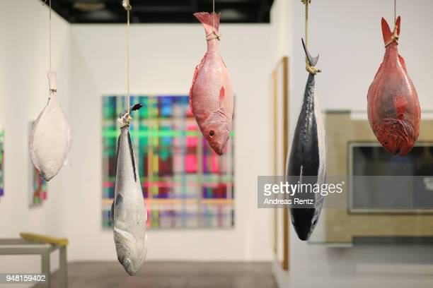 The artwork 'The Fisheries' of Mark Dion is pictured at Nagel Draxler Gallery booth during the Art Cologne exhibition preview at Koelnmesse on April...