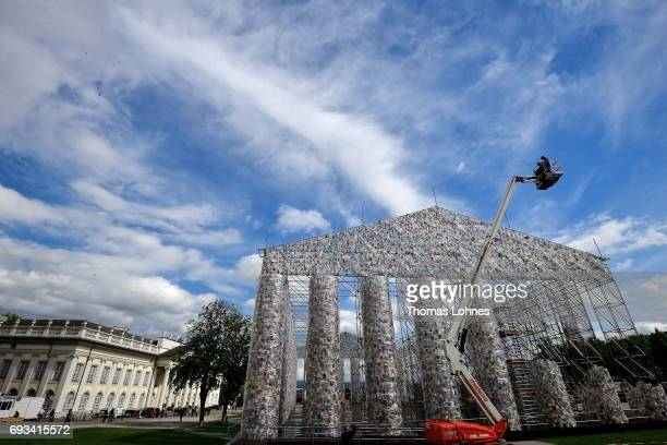 The artwork 'The Parthenon of Books' with donated books by the artist Marta Minujin pictured on June 7 2017 in Kassel Germany The documenta 14 is the...