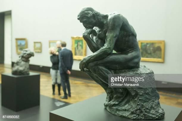 The artwork 'The Thinker 188183' by Rodin pictured during the exhibition preview 'RodinRilkeHofmannsthal Der Mensch und sein Genius' at Alte...