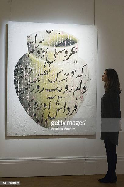 The artwork titled 'For You I Was a Puppet' of Iranian artist Farhad Moshiri with an estimate of £80000100000 is displayed as part of a week of Art...