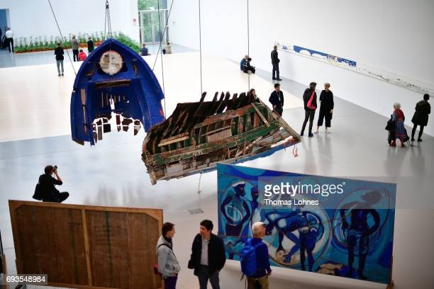 The artwork with parts of boots by artist Guillermo Galindo pictured on June 7 2017 in Kassel Germany The documenta 14 is the fourteenth edition of...