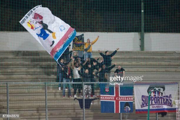 The AS Gubbio fans during the Lega Pro 17/18 group B match between Teramo Calcio 1913 and AS Gubbio 1910 at Gaetano Bonolis stadium on November 12...