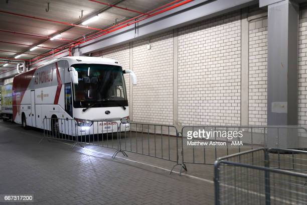 The AS Monaco bus parked under the main tribune in the stadium with a space for the Borussia Dortmund team bus at the UEFA Champions League Quarter...