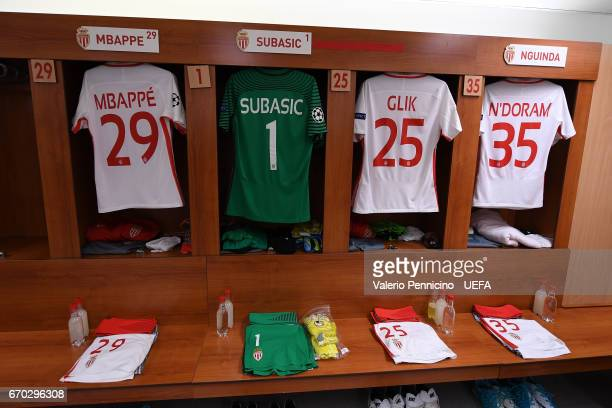 The AS Monaco FC dressing room is seen prior to the UEFA Champions League Quarter Final second leg match between AS Monaco and Borussia Dortmund at...