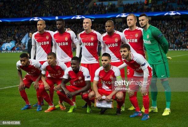 The AS Monaco team group lines up before the UEFA Champions League Round of 16 first leg match between Manchester City FC and AS Monaco at Etihad...