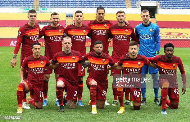 The AS Roma team pose for a team photo prior to the Serie A match between AS Roma and Genoa CFC at Stadio Olimpico on March 07, 2021 in Rome, Italy....