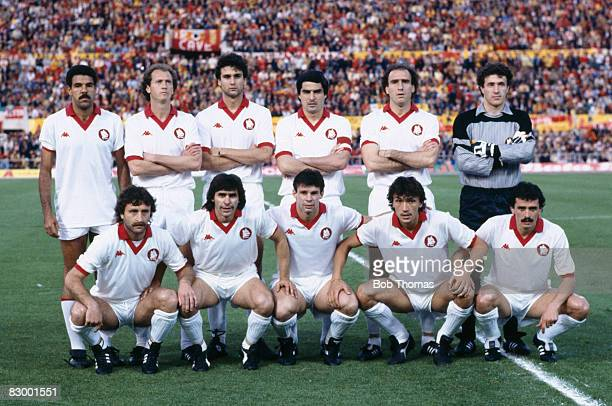 The AS Roma team pose for a team photograph prior to the European Cup Final against Liverpool at the Olympic Stadium in Rome May 30th 1984 The match...