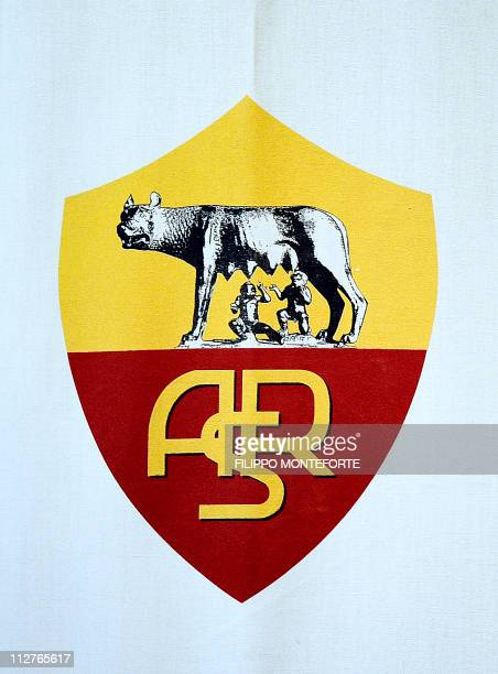 The AS Roma team's logo is displayed during a press conference in Trigoria training ground on the outskirts of Rome on February 15 2011 a day before...